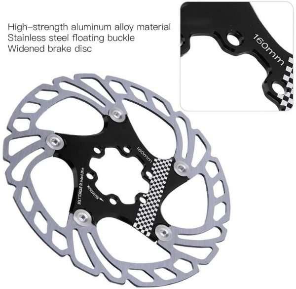 01 Bike Brake Rotor, 203mm Aluminum Alloy Mountain Bike Type Floating Brake Disc Bicycle Brake Rotor with Bolts Cycling Accessory Fit for Road Bike Mountain Bike MTB BMX