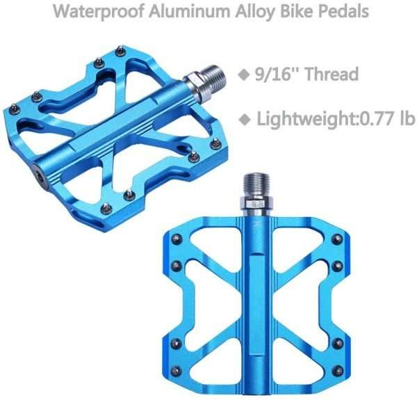 """02 Mountain Bike Pedals,Ultra Strong CNC Machined 9/16"""" Bicycle Flat Alloy Pedals Non-Slip"""