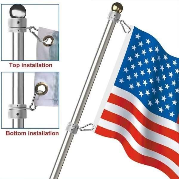 Aluminum Alloy Flag Pole Rings 360° Rotating 01