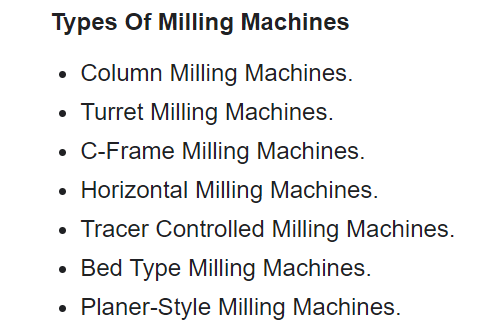 what are the types of milling machines